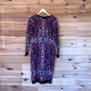Maggy London long sleeved midi print dress size 4